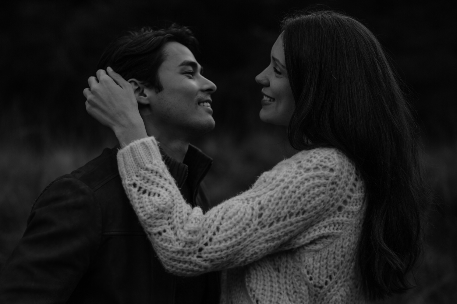 smiling engagement couple