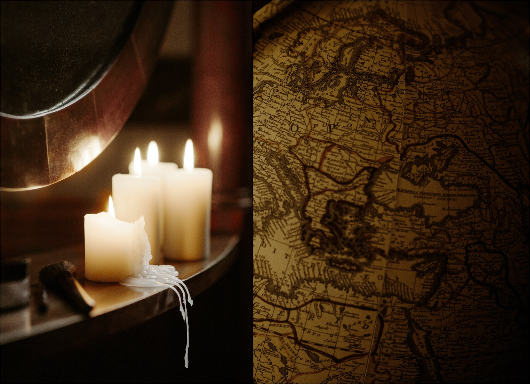 candle and map