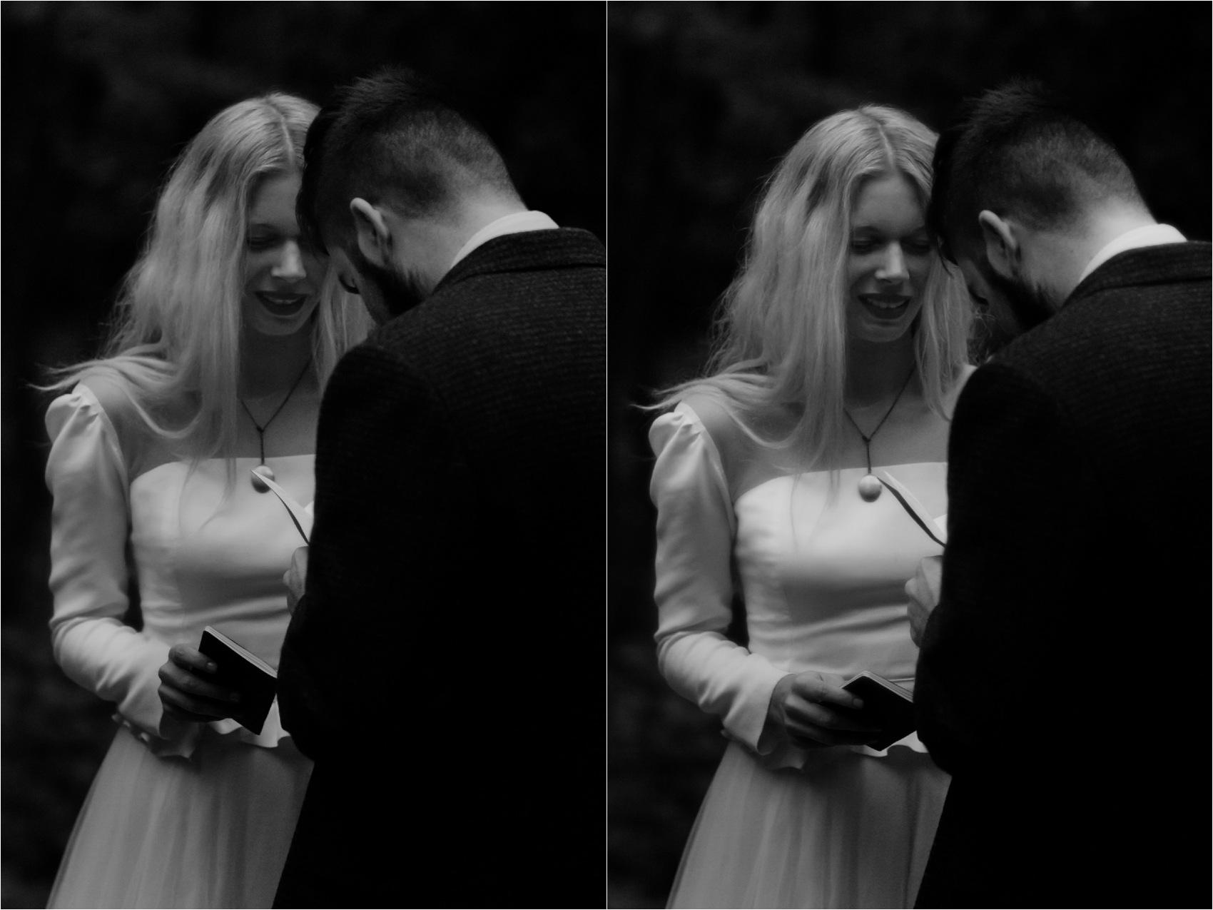 bride looks over groom