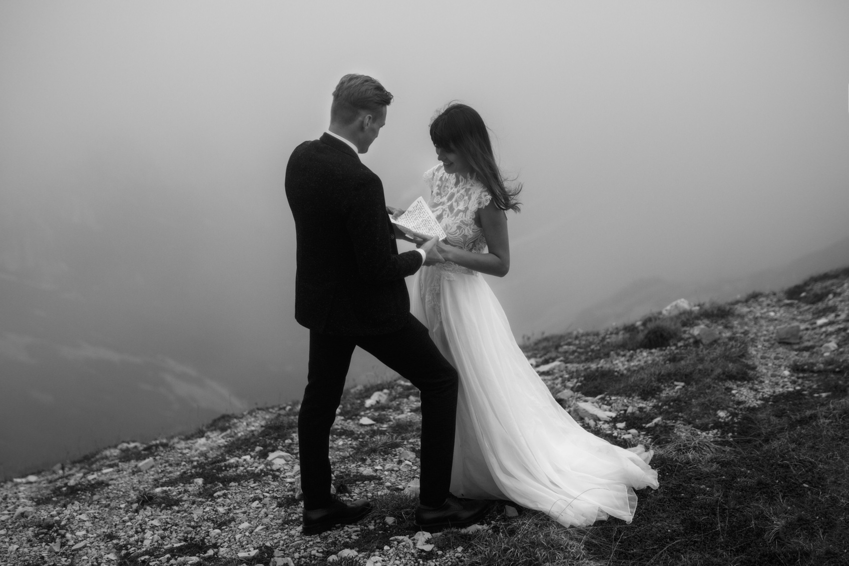 black and white couple standing