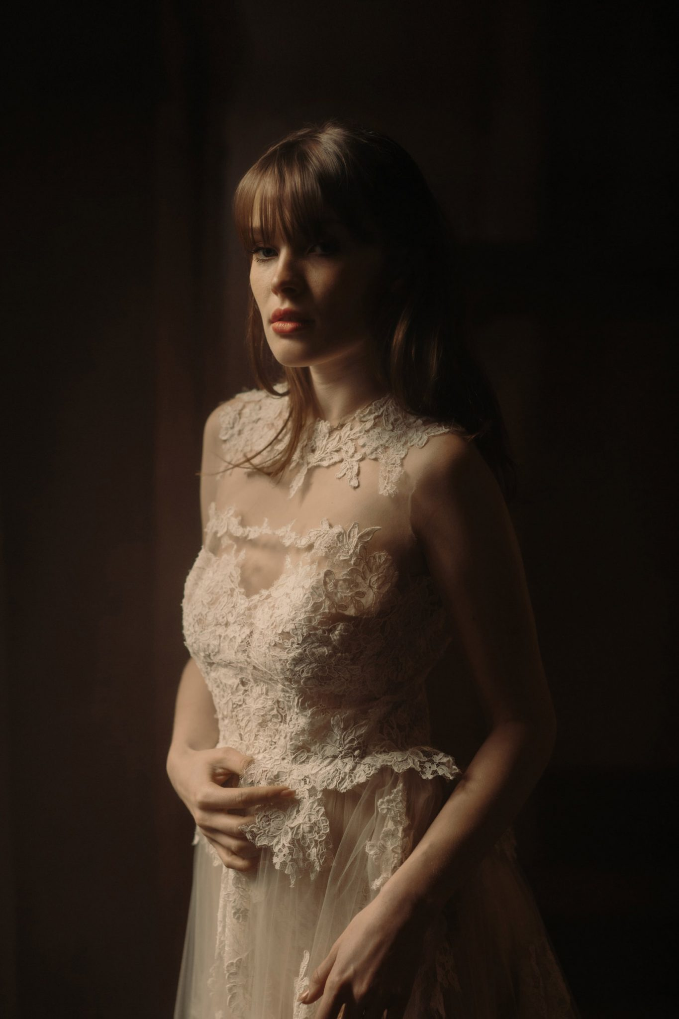 bride portrait with lace dress